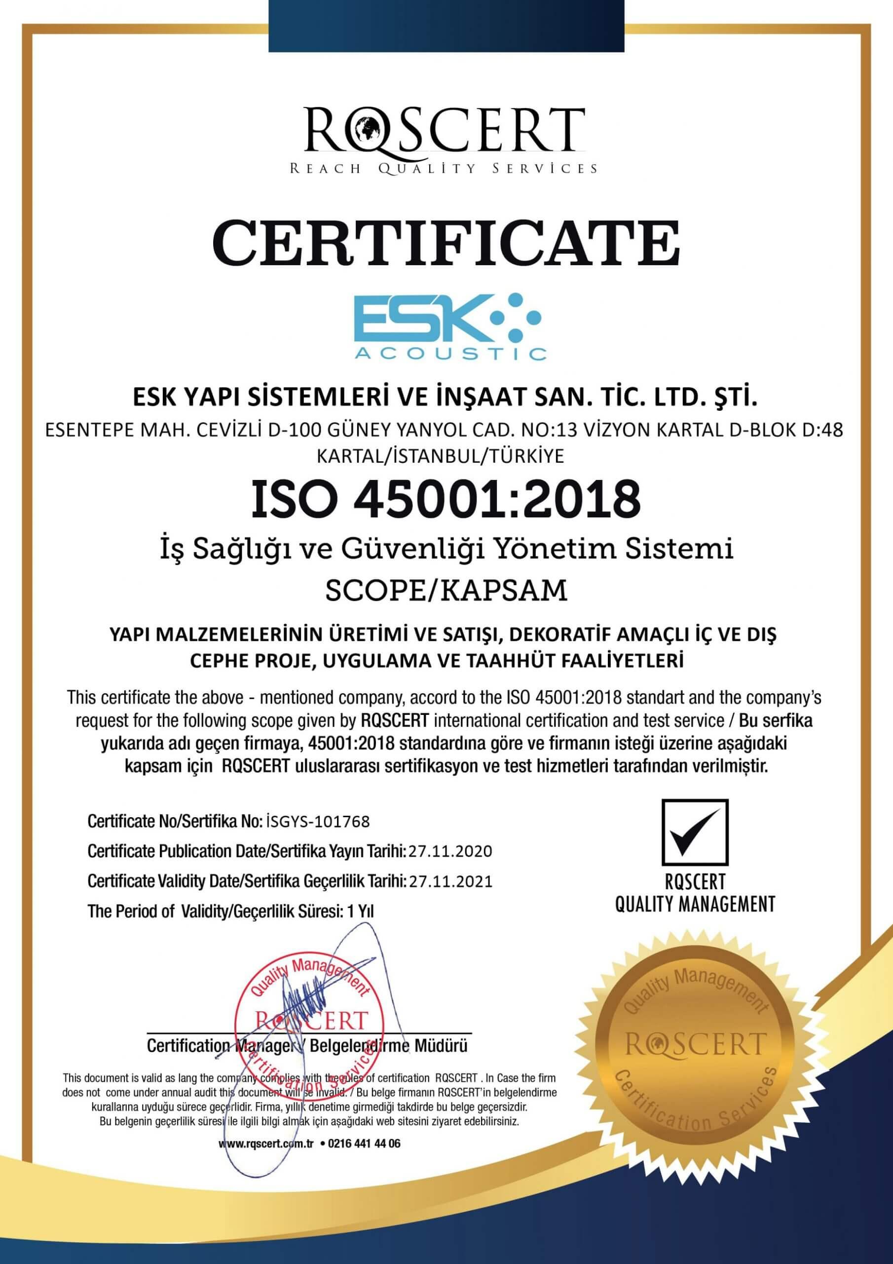 Certificats de Qualité